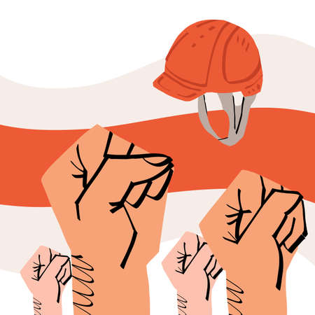 The fists of crowd people and working man hard hat on Belarus old flag background. Protest for human rights and presidential electoral fairness, barring out concept. Vector illustration.