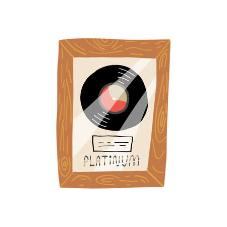 Collectible vinyl record in a wood frame under glass, with a label and the lettering Platinum. Sticker, label design. Cute hand drawn musical vector illustration on isolated background. Illustration