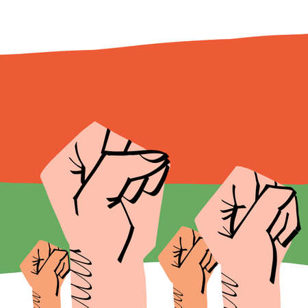 The fists of crowd people on colors of Belarus flag background. Protest for human rights and presidential electoral fairness, people solidarity. Vector illustration.