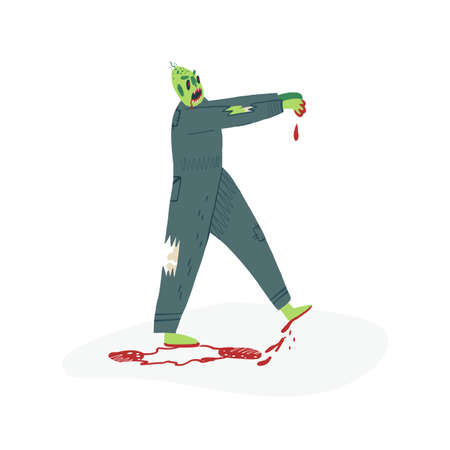 A terrifying zombie walks with raised hands and burning pupils, bones stick out from under a special uniform and blood drips to the ground. Halloween character. Vector isolated illustration. Ilustración de vector