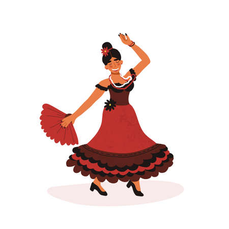 Happy Spanish girl in red traditional dress passionately dancing flamenco with hand fan. Vector hand drawn isolated illustration.