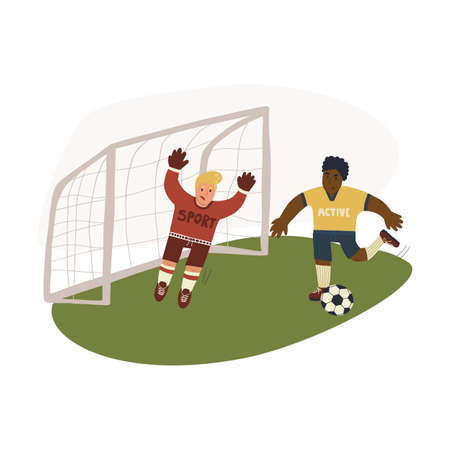 Funny hand drawn illustration of goalkeeper catching or blocking the ball in goals and forward running on pitch. Vector isolated illustration.
