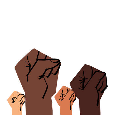 Multi-ethnic young adults raised hands with clenched fists. Black lives matter, together stronger and supporting for equal rights, protest against racial discrimination and Police brutality concept.