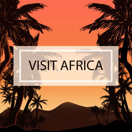 Colorful hand drawn tropical background with palm silhouettes and desert landscape sunrise in exotic country with label Visit Africa for advertising travel banner. Flat vector illustration.
