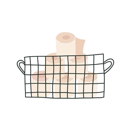 Basket with soft tissue paper or loo rolls in metal storage basket. Vector cute hand drawn illustration on isolated background.