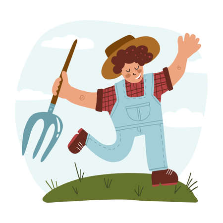Eat local and organic food concept. Happy farmer with pitchfork dancing on meadow. Hand drawn vector illustration isolated background.