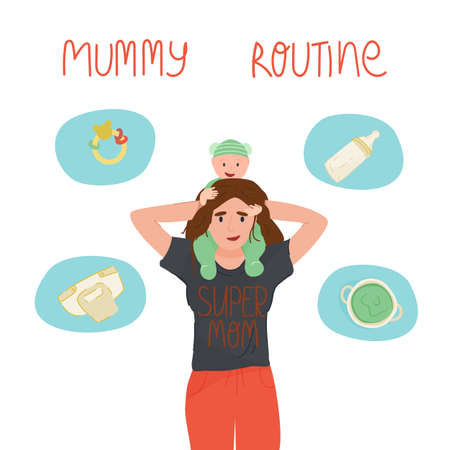 Smiling mama holding her adorable baby on shoulders and her everyday routine - cleaning, feeding, playing, cooking.