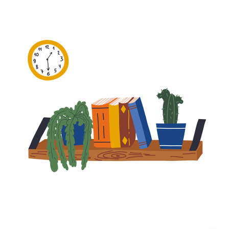 Cute book shelf and home plants, cactus and dischidia in pots, a wall clock hangs nearby.