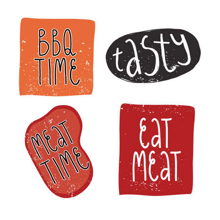 Funny textured hand drawn sticker set. Meat and BBQ time, tasty, eat meat lettering.
