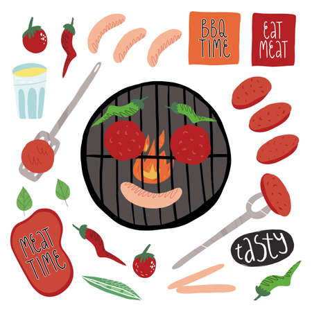 Big barbecue set. Spatula and grill fork, outdoor grill smile, tasty sausages, burger patties, stickers and others. Illustration