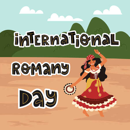 Happy dancing gypsy girl with tambourine in colorful traditional dress and International Romany day hand drawn lettering Stock Illustratie