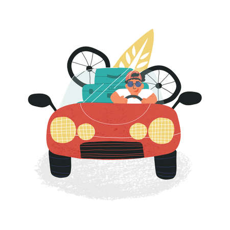 Funny guy in cap goes to vacation driving cabriolet car with a lot of luggage, bicycle and surf board.