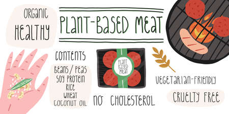 Meat alternative for vegetarian, vegans, contents info-graphics. Smiling BBQ grill with plant-based patties and sausage. Illustration