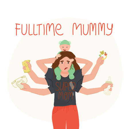 Tired multi armed mother holding her baby on shoulders,in others hands napkin and sponge,feeding bottle,rattle.