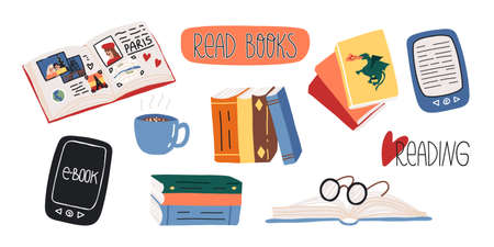 Reading lovers cute set. Various paper and e- books, fairy tales or myths, glasses, art or travel book, hot chocolate.