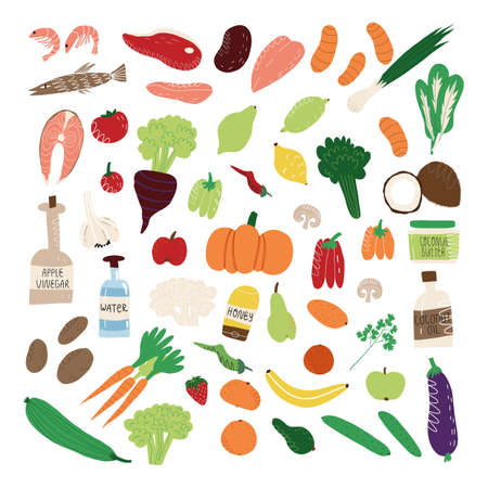 Big set of healthy nutrition like fruits and vegetables, organ meat and fish, seafood, green and salad, mushrooms and vinegar. Ilustracja