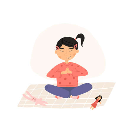 Cute Asian girl put down a toys and meditates in lotus or padmasana pose with her hands folded at the heart. Vettoriali