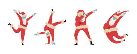 Set of happy dancing Santa Clauses in medical face mask and latex gloves in various pas like dabbing,jumping,break dance