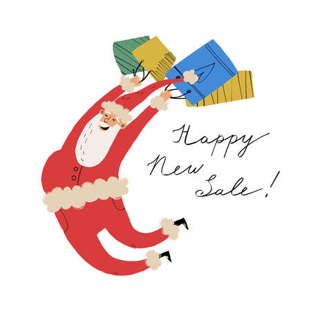 Cute and funny jumping Santa Claus with shopper paper bags and hand lettering Happy New Sale. Advertising banner design.