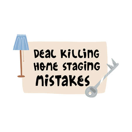 Deal killing home staging mistakes banner template. A door key, stylish floor lamp, lettering on a paper pad background.