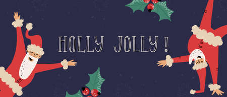 Funny Santa Clauses dancing in various poses, holly ilex leaf and berries nearby. Holly Jolly greeting lettering Vector Illustration