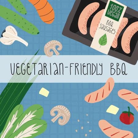 Vegetarian-friendly BBQ banner. Tartan tablecloth, vegan plant-based sausages, vegetables and greens, tofu, mushrooms