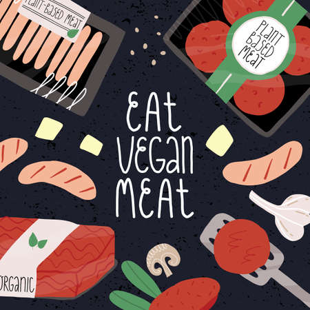 Eat vegan plant-based meat banner. Vegetable burger patties pack, sausages, mushrooms, mince tofu and garlic, lettering.
