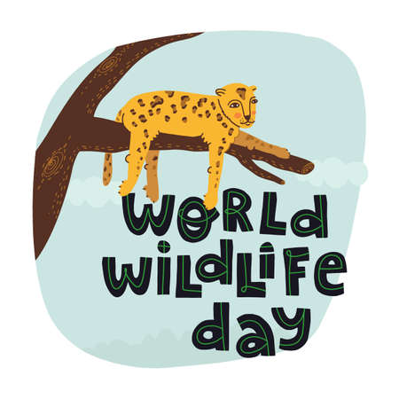 World wildlife day hand drawn lettering text with fun leopard lying on a tree branch and chilling. 向量圖像
