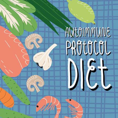 Autoimmune protocol diet banner. Tartan tablecloth, chicken breast fillet, shrimps, vegetables and greens, lime.
