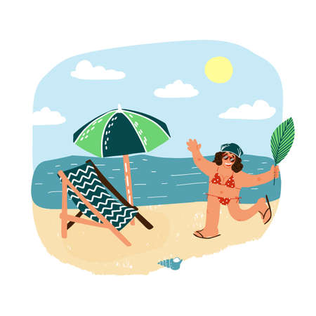 Happy smiling woman with palm leaf running across the beach to her sunshade and lounge chair. Resuming tourism concept.
