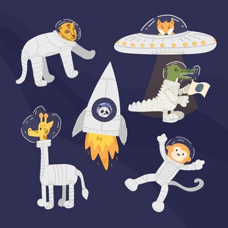 Set of fun animal astronauts like cheetah, giraffe, monkey, panda bear in the rocket, crocodile and fox in UFO.