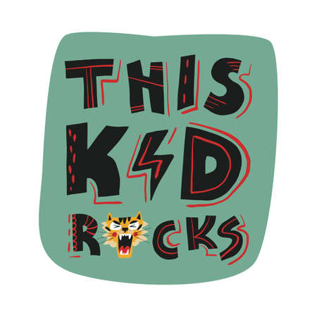 This kid rocks label with roaring tiger muzzle and hand funny lettering. Cute design for t-shirt and kids clothes print.