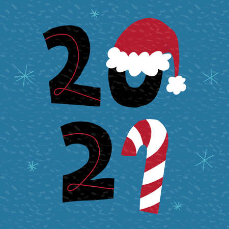 Cute New Year greeting card, banner design. 2021 hand-drawn lettering with candy cane, snowflakes and Santas hat. Illustration