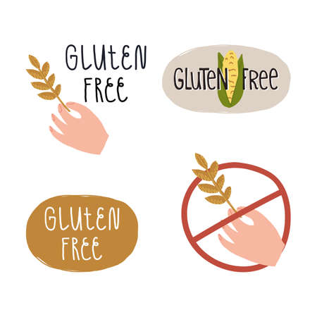 Gluten free sticker, emblem, label set. Hand holding a wheat sprout, lettering, corn cob, strikethrough sign.