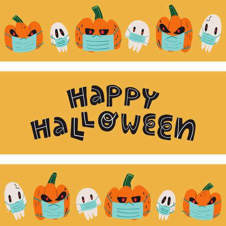 Spooky pumpkins with burning red eyes and skulls in medical face mask borders. Funny hand lettering Happy Halloween.
