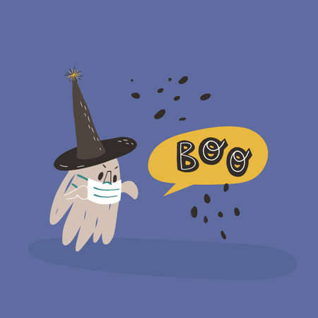 Funny ghost in witch pointed hat and face medical mask with hands up frightens somebody and screams Boo.Halloween design