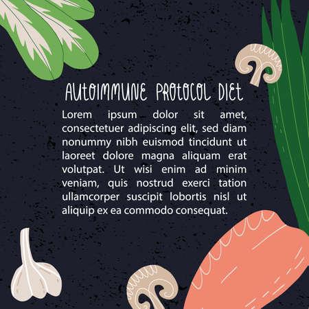 Autoimmune protocol diet banner template. The mushrooms, green, chicken or turkey breast fillet and garlic. Çizim