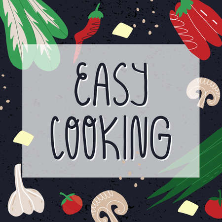 Easy cooking banner template. Lettering text and vegetables like paprika, chili, tomato, also mushrooms, greens and tofu