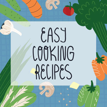 Easy cooking recipes banner. Tartan tablecloth, vegetables, tofu or cheese, greens, seasoning, cultured mushrooms. Vector hand-drawn illustration. Çizim