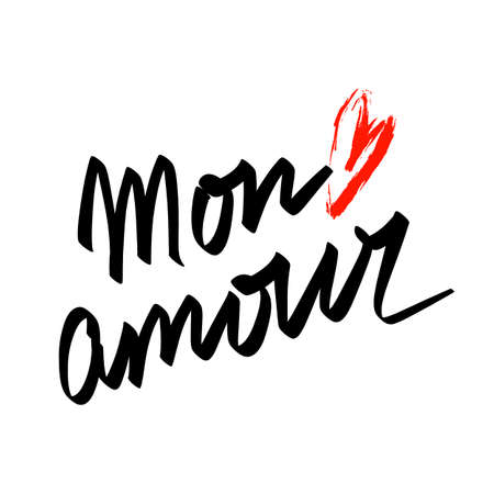 Mon amour French language phrase means My love hand lettering and red brushstroke heart. Happy Valentines day design.