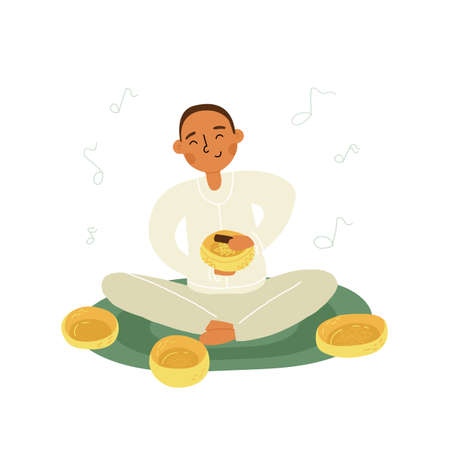 An Asian boy or young man do singing bowls healing therapy sitting on the mat, a lot of metallic bowls nearby.
