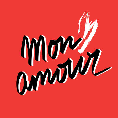 Mon amour hand lettering and white brushstroke heart on red background. Happy Valentines day card design. Vector Illustration