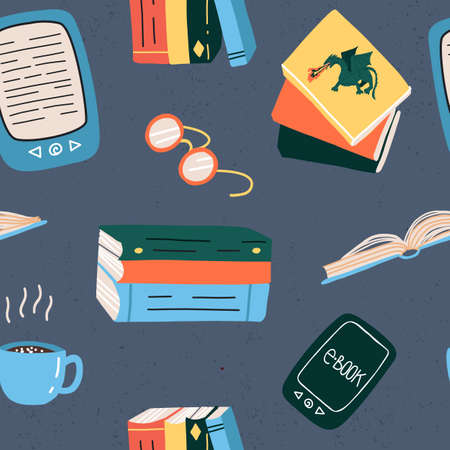 Books and gadgets in seamless pattern.