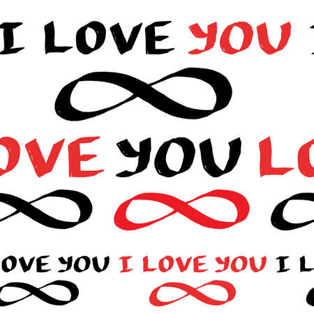 I love you eternally hand lettering seamless pattern. Cute Valentines Day design for wrapping paper, fabric print.