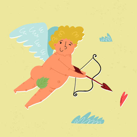A cute hand-drawn flying Cupid with slings and arrow aim at heart. Clouds around. Valentines Day greeting card design.