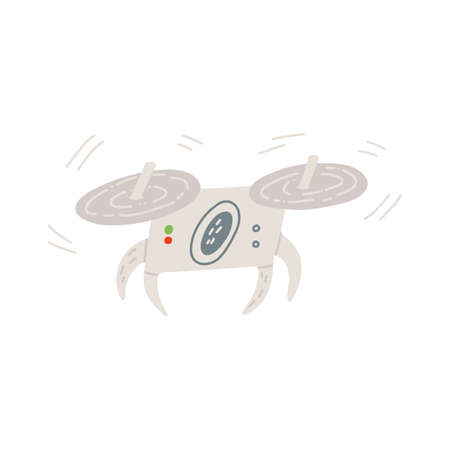 A cute hand-drawn remotely piloted aircraft mid-flight, quadcopter drone. Vector isolated illustration.