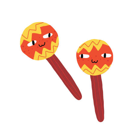 Funny colorful Mexican maracas characters in hand-drawn style. 일러스트