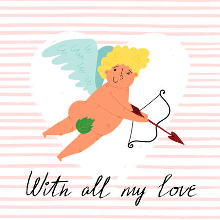 Valentines day card design. A cute hand-drawn flying Cupid with slings and arrow. Pink striped textured background. 일러스트