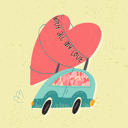A retro car full of the hearts with huge one on at the top. With all my love lettering. Valentines Day retro style card