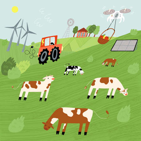 Ecological food development concept. Fields with cows, windmills, electrical combine, solar panels, drone delivery. Ilustração